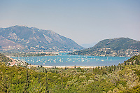 Many sailing boats at the village Vlycho in Lefkada, Greece