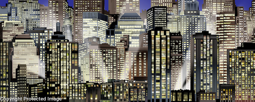 Stylized New York Cityscape at night. For Kenmark Scenic Backdrops, Inc.