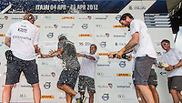 BRAZIL, Itajai.10th April 2012. Volvo Ocean Race. The crew of Groupama celebrate finishing third on Leg 5 of the Volvo Ocean Race.