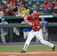 NWA Democrat-Gazette/ANDY SHUPE<br />Arkansas center fielder Dominic Fletcher connects for a three-run triple against Memphis Tuesday, April 18, 2017, during the third inning at Baum Stadium. Visit nwadg.com/photos to see more photographs from the game.