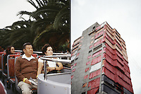 """A couple enjoy a ride on the Mexico City double decker tourbus """"Turibus"""", part of the landscapes of tourism series, Mexico City 2004. Exhibited in the Salon Malafama as part of the """"Vacaciones"""" series, Mexico City July, 2006"""
