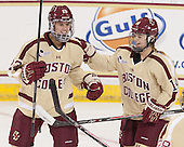 Andie Anastos (BC - 23), Emily Pfalzer (BC - 14) - The Boston College Eagles defeated the visiting University of Maine Black Bears 5 to 1 on Sunday, October 6, 2013, in their Hockey East season opener at Kelley Rink in Conte Forum in Chestnut Hill, Massachusetts.