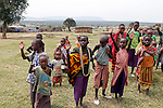 Africa, Kenya, Masai Mara. Maasai children of Olderkesi Community.
