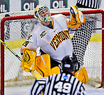 3 January 2009: University of Vermont Catamount goaltender Rob Madore, a Freshman from Venetia, PA, makes a third period save against the St. Lawrence Saints during the championship game of the Catamount Cup Ice Hockey Tournament hosted by UVM at Gutterson Fieldhouse in Burlington, Vermont. Madore recorded his first college career shut out against the Saints, leading the Cats to a 4-0 win and taking the tournament for the second time since its inception in 2005...Mandatory Photo Credit: Ed Wolfstein Photo
