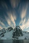 Back-lit mountain peaks, Antarctica