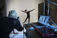 Moscow, Russia, 11/02/2011..Studio photoshoot for Snob magazine in which journalist Ilya Kolmonovski enacts parts of the human body. Producer/Art Director: Elena Kashirskaya.