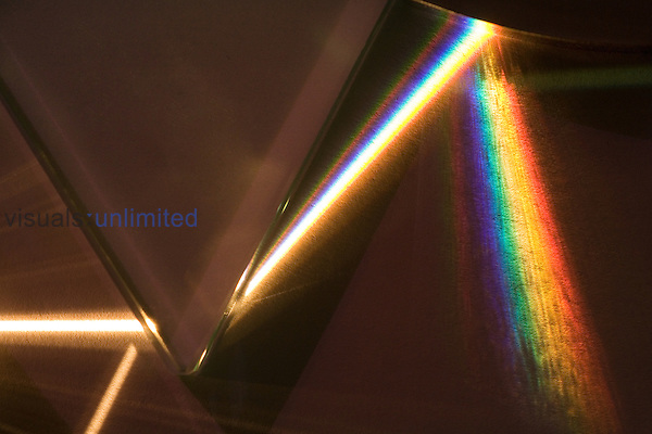 A prism separates white light into its full spectrum. A convex mirror was used to increase the separation of colors.