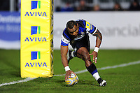 Semesa Rokoduguni of Bath Rugby runs in a try on the occasion of his 100th appearance for the club. Aviva Premiership match, between Bath Rugby and Northampton Saints on February 10, 2017 at the Recreation Ground in Bath, England. Photo by: Patrick Khachfe / Onside Images
