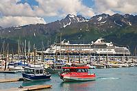 Holland America cruise liner Ryndam in the Seward municipal boat Harbor, Seward, Alaska.