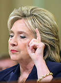 Former United States Secretary of State Hillary Rodham Clinton, a candidate for the 2016 Democratic Party nomination for President of the United States, testfies before the US House Select Committee on Benghazi on Capitol Hill in Washington, DC on Thursday, October 22, 2015.<br /> Credit: Ron Sachs / CNP<br /> (RESTRICTION: NO New York or New Jersey Newspapers or newspapers within a 75 mile radius of New York City)