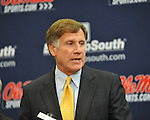 Mississippi athletic director Pete Boone speaks at a press conference at the IPF at the University of Mississippi in Oxford, Miss. on Monday, November 7, 2011. Boone announced that head football coach Houston Nutt will not be retained following the season. Boone also announced that he will resign as athletic director by December 31, 2012. (AP Photo/Oxford Eagle, Bruce Newman)..