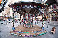 """FAILE: Wishing on You"" debuts in Times Square in New York on Monday, August 17, 2015. The installation which reimagines Asian prayer wheels using designs inspired by Times Square history is by the artist collaboration FAILE, Patrick McNeil and Patrick Miller. The public sculpture will be on display until September 1 and runs concurrent with FAILE's exhibition at the Brooklyn Museum. (© Richard B. Levine)"