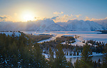 Wyoming, Jackson, Teton National park. A late winter sunset over the Tetons and the Snake River.