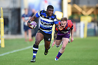 Levi Davis of Bath United goes on the attack. Remembrance Rugby match, between Bath United and the UK Armed Forces on May 10, 2017 at the Recreation Ground in Bath, England. Photo by: Patrick Khachfe / Onside Images