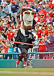 22 July 2012: Washington Nationals Mascot Abe Lincoln wins the Presidents Race between innings of a game against the Atlanta Braves at Nationals Park in Washington, DC. The Nationals defeated the Braves 9-2 to split their 4-game weekend series. Mandatory Credit: Ed Wolfstein Photo