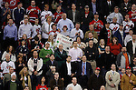 Mar 17, 2009; Newark, NJ, USA; Fans salute New Jersey Devils goalie Martin Brodeur (30) at the Prudential Center. The Devils defeated the Blackhawks 3-2 and New Jersey Devils goalie Martin Brodeur (30) became the all-time winningest goalie in NHL history with his 552 win.