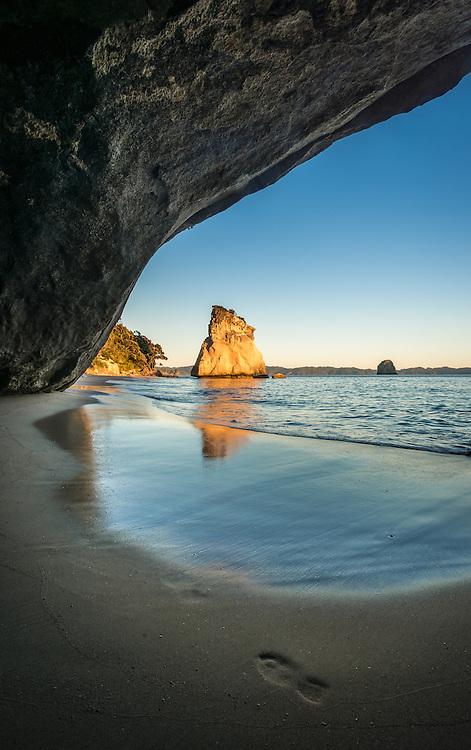 Sunrise at Cathedral, Cove, Coromandel, New Zealand - stock photo, canvas, fine art print
