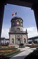 Tower in the Castillo de Chapultepec or Chapultepec Castle in Chapultepec Park, Mexico City. This 18th-century castle was once the residence of Emporer Maximilian and Empress Carlota. It now houses the Museo Nacional de Historia.