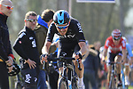 Luke Rowe (WAL) Team Sky summits the Taaienberg 18% cobbled climb during the 60th edition of the Record Bank E3 Harelbeke 2017, Flanders, Belgium. 24th March 2017.<br /> Picture: Eoin Clarke | Cyclefile<br /> <br /> <br /> All photos usage must carry mandatory copyright credit (&copy; Cyclefile | Eoin Clarke)