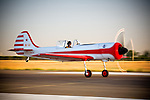 A Yakovlev Yak-50 S/N001 launches from Porterville Airport during All Red Star VII