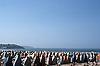 Sunshades at the San Lorenzo Beach<br /> <br /> Quitasoles en la Playa de San Lorenzo<br /> <br /> Sonnenschutzzelte am San Lorenzo Strand<br /> <br /> Original: 35 mm slide transparency