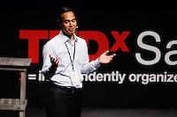 San Antonio Mayor Julian Castro speaks about education during the TEDxSan Antonio 2010 event, Saturday, Oct. 16, 2010, at Trinity University in San Antonio. (Darren Abate/pressphotointl.com)