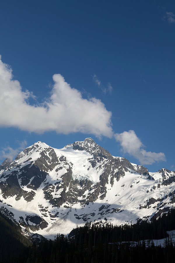 Snowcapped peak in North Cascades National Park, Washington state, WA, USA