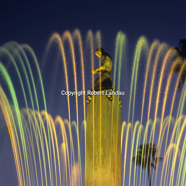 The Beverly Hills Electric Fountain at dusk