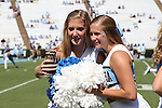 17 September 2016: Two UNC cheerleaders take a selfie. The University of North Carolina Tar Heels hosted the James Madison University Dukes at Kenan Memorial Stadium in Chapel Hill, North Carolina in a 2016 NCAA Division I College Football game.