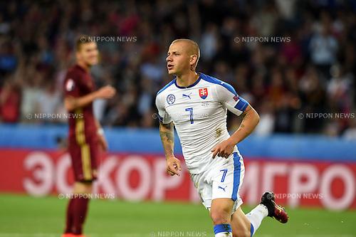 Vladimir Weiss (Slovakia) ; <br /> June 15, 2016 - Football : Uefa Euro France 2016, Group B, Russia 1-2 Slovakia at Stade Pierre Mauroy, Lille Metropole, France.; Joy Goal 0-1 ;(Photo by aicfoto/AFLO)