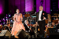 Tenor Jose Carreras performs with German soprano Barbara Krieger during the Berlin Classic Open Air concerts held every summer in the restored Gendarmenmarkt square which was heavily damaged during the Second World War (WWII). The orchestra is the Brandenburgischen Staatsorchester Frankfurt conducted by David Gimenez. .