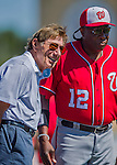 6 March 2016: American football legend and former NFL quarterback Joe Namath watches the Washington Nationals take batting practice prior to a Spring Training pre-season game against the St. Louis Cardinals at Roger Dean Stadium in Jupiter, Florida. The Nationals defeated the Cardinals 5-2 in Grapefruit League play. Mandatory Credit: Ed Wolfstein Photo *** RAW (NEF) Image File Available ***