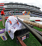 12 April 2008: A wheelbarrow containing field maintenance equipment still bears the Montreal Expos logo from days gone by, as Head Groundskeeper Larry DeVito prepares for a game between the Washington Nationals and the Atlanta Braves at the new Nationals Park, in Washington, DC. The Braves defeated the Nationals 10-2...Mandatory Photo Credit: Ed Wolfstein Photo