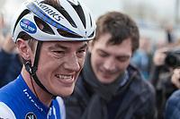 An emotional/happy Yves Lampaert (BEL/Quick Step Floors) after his big win<br /> <br /> 72nd Dwars door Vlaanderen 2017