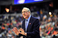 Coach Jim Boeheim tells his players settle down. Syracuse defeated Marquette 55-39 during the NCAA East Regional Final at the Verizon Center in Washington, D.C. on Saturday, March 30, 2013. Alan P. Santos/DC Sports Box