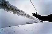 Niegowa 01.2010 Poland<br /> High voltage overgrown layer of ice and snow. Weight of such line is 5-6 times higher than normal.<br /> Three atmospheric forces: rain, snow and frost have changed into an ecological disaster the Myszkowski district in the Czestochowskie province, located 230 kilometers south of Warsaw. Almost 95% of all trees are down.Thousands of homes are left without electricity.<br /> Photo: Adam Lach / Napo Images for Newsweek Polska<br /> <br /> Linia wyskokiego napiecia obrosnieta warstwa lodu i sniegu. Ciezar metra takiej linii jest 5 krotnie wyzszy od normalnego.<br /> Wstepnie &quot;tylko&quot; 95% scietych drzew w dwoch powiatach. 0.5 miliona metrow szesciennych zniszczonych lasow..Tysiace gospodarstw bez pradu. Wszyscy maja swiadomosc, ze na kumulacje trzech niekorzystnych .zjawisk atmosferycznych rady nie ma.Trzy zjawiska kt&oacute;re zamienily jeden z obszarow Polski w istna katastrofe ekologiczna: deszcz, snieg i szadz.<br /> Fot: Adam Lach / Napo Images dla Newsweek Polska