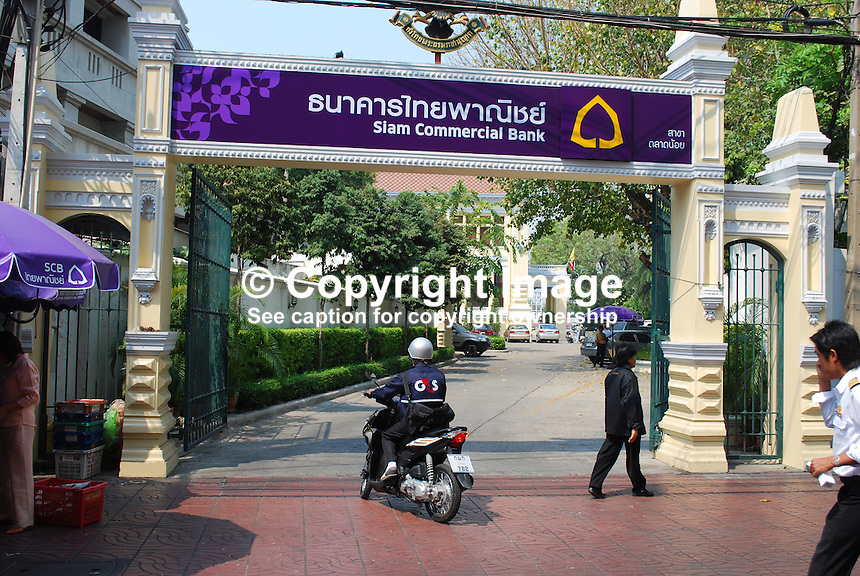 Ornate gateway, Siam Commercial Bank, Bangkok, Thailand, 20100310123209..Copyright Image from Victor Patterson, 54 Dorchester Park, Belfast, UK, BT9 6RJ..Tel: +44 28 9066 1296.Mob: +44 7802 353836.Voicemail +44 20 8816 7153.Skype: victorpattersonbelfast.Email: victorpatterson@mac.com.Email: victorpatterson@ireland.com (back-up)..IMPORTANT: If you wish to use this image or any other of my images please go to www.victorpatterson.com and click on the Terms & Conditions. Then contact me by email or phone with the reference number(s) of the image(s) concerned.