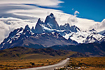 Fitzroy towers over the road into the town of El Chalten in Southern Patagonia, Argentina