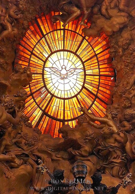 Window of the Holy Spirit, Gloria over Cathedra Petri, Bohemian glass, Apse, St Peter's Basilica, Rome