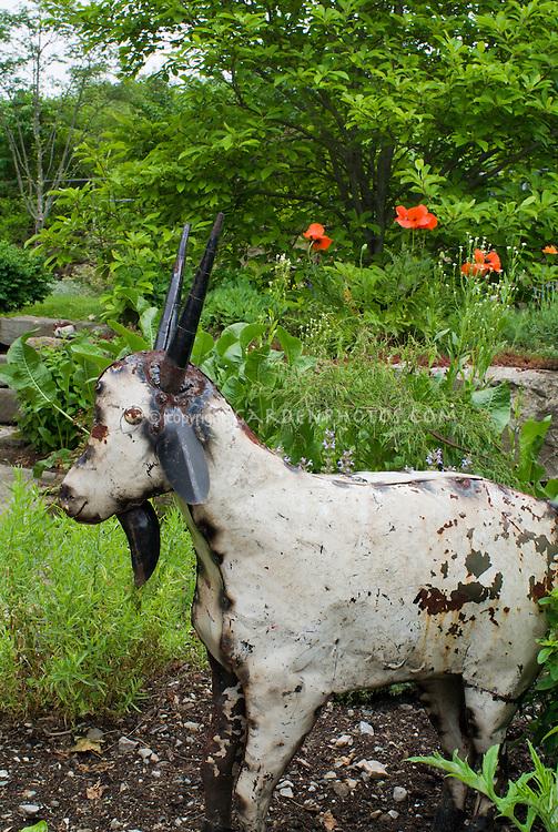 Garden art sculpture Goat animal, poppies, tree