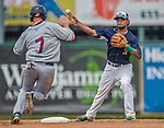 9 July 2015: Vermont Lake Monsters infielder Jesus Lopez turns a double-play in the 4th inning against the Mahoning Valley Scrappers at Centennial Field in Burlington, Vermont. The Lake Monsters rallied to tie the game 4-4 in the bottom of the 9th, but fell to the Scrappers 8-4 in 12 innings of NY Penn League play. Mandatory Credit: Ed Wolfstein Photo *** RAW Image File Available ****