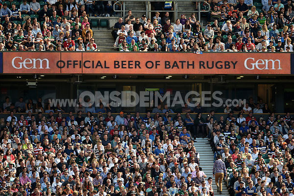 A general view of Bath Ales branding on the middle tier LED boards. The Clash, Aviva Premiership match, between Bath Rugby and Leicester Tigers on April 8, 2017 at Twickenham Stadium in London, England. Photo by: Patrick Khachfe / Onside Images
