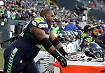 Seattle Seahawks defensive tackle  Brandon Mebane yawns before taking to the field against the Minnesota Vikings at CenturyLink Field in Seattle, Washington on  November 17, 2013.  The Seahawks beat the Vikings 41-20.  ©2013.  Jim Bryant. All Rights Reserved.