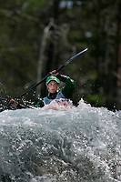 Marianne Sæther. Kayak downhill race in the Brandseth river. The Extremesport Week, Ekstremsportveko, is the worlds largest gathering of adrenalin junkies. In the small town of Voss enthusiasts in a varitety of extreme sports come togheter every summer to compete and play. Norway.  ©Fredrik Naumann/Felix Features.