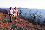 WY: Wyoming, Yellowstone National Park: .Couple hiking at Lake Yellowstone, Model Released.Photo #: yellow667..Photo copyright Lee Foster, 510/549-2202, lee@fostertravel.com, www.fostertravel.com..