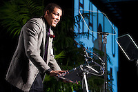 Aaron Gordon receives his high school athlete of the year award at the San Jose Sports Hall of Fame induction ceremony at the HP Pavilion on Nov. 14, 2012.