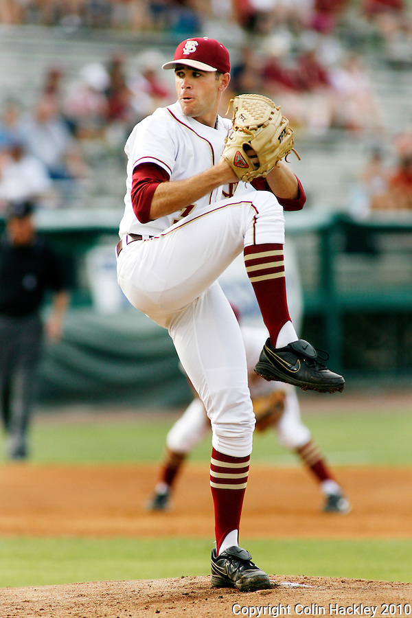 TALLAHASSEE, FL 5/14/10-FSU-NC STATE BASE10 CH-Florida State's Sean Gilmartin pitches against N.C. State Friday at Dick Howser Stadium in Tallahassee. Gilmartin pitched 5.2 innings. The Wolfpack downed the Seminoles 5-2...COLIN HACKLEY PHOTO