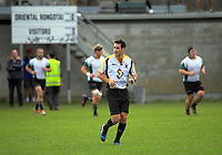 Referee Ben O'Keefe runs out for the Swindale Shield Wellington premier club rugby match between Oriental-Rongotai and Old Boys-University at Polo Ground in Wellington, New Zealand on Saturday, 29 April 2017. Photo: Dave Lintott / lintottphoto.co.nz