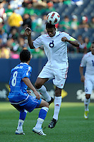 El Salvador's Jaine Colomé heads the ball in front of El Salvador's Osael Romero.  El Salvador defeated Cuba 6-1 at the 2011 CONCACAF Gold Cup at Soldier Field in Chicago, IL on June 12, 2011.