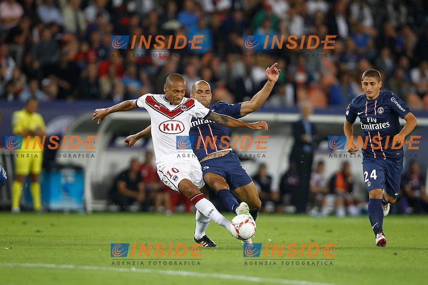 Alex / Marco Verratti (PSG) vs Jussie (Bordeaux)  .26/08/2012 Parigi.Football 2012 /2013.Paris Saint Germain vs Bordeaux .